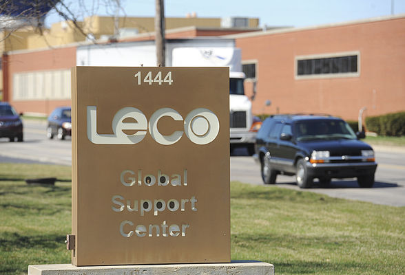 The LECO Global Support Center along Hilltop Road is pictured Thursday. It is one of the buildings LECO already has in its industrial development district. (Don Campbell | HP Staff)